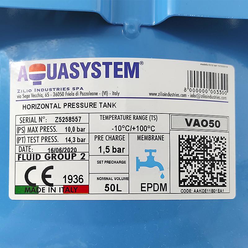 Aquasystem VAO 50 горизонтальный